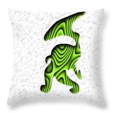 Abstract Monster Cut-out Series - Green Stroll Throw Pillow