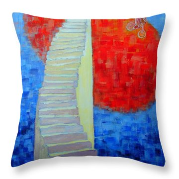 Throw Pillow featuring the painting Abstract Moon by Ana Maria Edulescu
