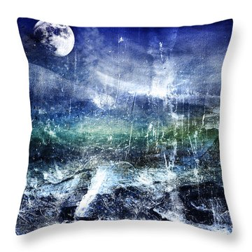 Abstract Moonlit Seascape Painting 36a Throw Pillow