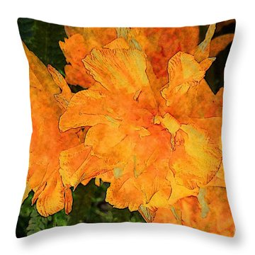 Abstract Motif By Yellow Daffodils Throw Pillow by Jean Bernard Roussilhe