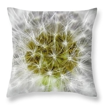 Abstract Nature Dandelion Floral Maro White And Yellow A1 Throw Pillow