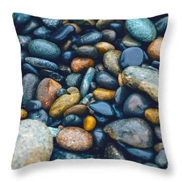 Abstract Nature Tropical Beach Pebbles 923 Blue Throw Pillow