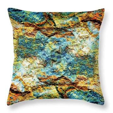 Abstract Nature Tropical Beach Rock Blue Yellow And Orange Macro Photo 472 Throw Pillow