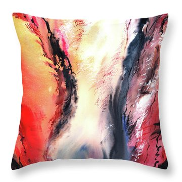 Throw Pillow featuring the painting Abstract New by Anil Nene
