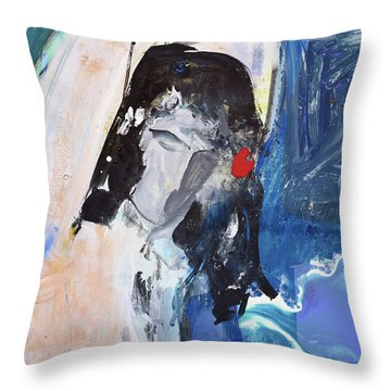 Abstract Nude And Flowers Throw Pillow