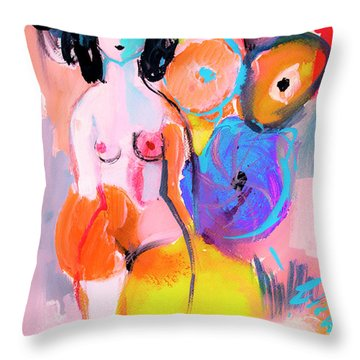 Abstract Nude With Flowers Throw Pillow