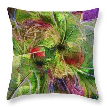 Throw Pillow featuring the digital art Abstract Of Color by Deborah Benoit