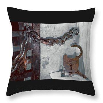 Throw Pillow featuring the photograph Grunge Old Padlock by Robert G Kernodle