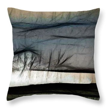 Abstract On River Throw Pillow