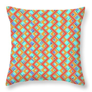 Abstract Orange, Cyan And Red Pattern For Home Decoration Throw Pillow