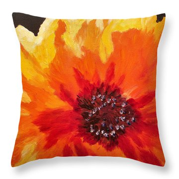 Abstract Orange Flower Throw Pillow by Mary Jo Zorad