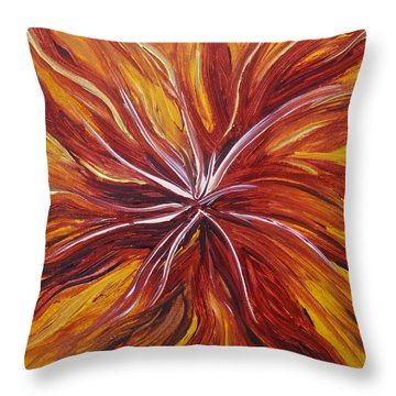 Abstract Orange Flower Throw Pillow