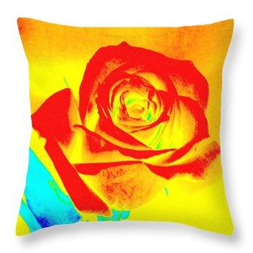 Single Orange Rose Abstract Throw Pillow