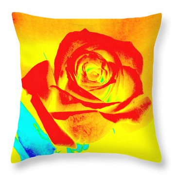 Single Orange Rose Abstract Throw Pillow