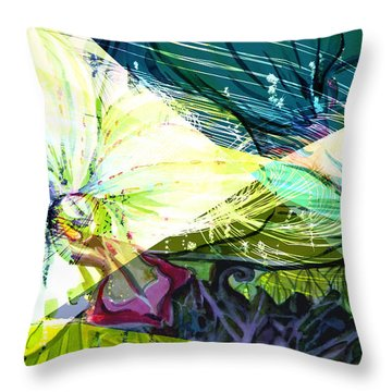 Abstract Orchid Throw Pillow by Mindy Newman