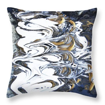 Throw Pillow featuring the mixed media Tidal Wave Abstract Painting 1 - Mixed Media by Renee Anderson