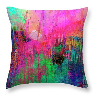 Abstract Painting 621 Pink Green Orange Blue Throw Pillow
