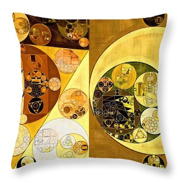 Throw Pillow featuring the digital art Abstract Painting - Golden Brown by Vitaliy Gladkiy