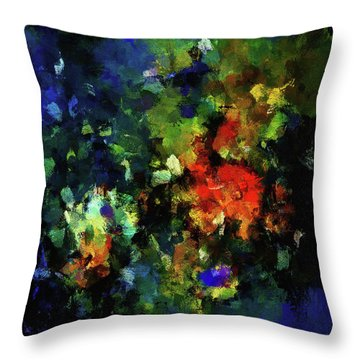 Throw Pillow featuring the painting Abstract Painting In Dark Blue Tones by Ayse Deniz