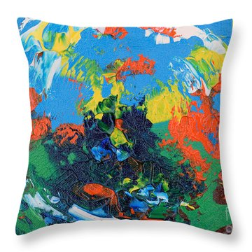 Throw Pillow featuring the painting Abstract Painting R1115a by Mas Art Studio