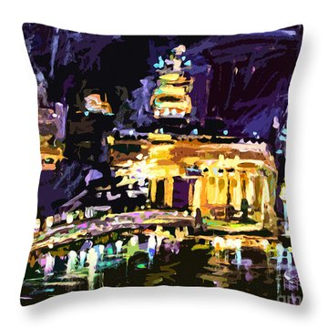 Throw Pillow featuring the painting Abstract Paris Night Reflections by Ginette Callaway