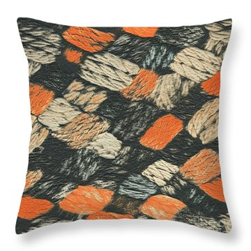 Abstract Pattern Black And Orange Throw Pillow