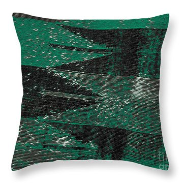 Abstract Pattern No.11 Green And Black Throw Pillow