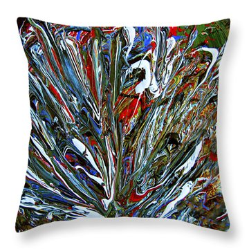 Throw Pillow featuring the mixed media Abstract Peacock Feathers 4 Painting- by Renee Anderson