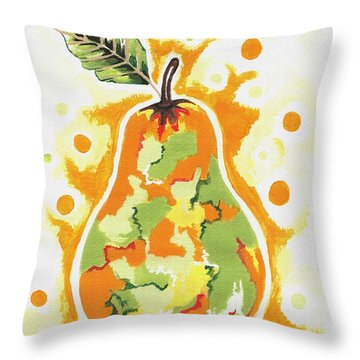 Throw Pillow featuring the painting Abstract Pear by Kathleen Sartoris