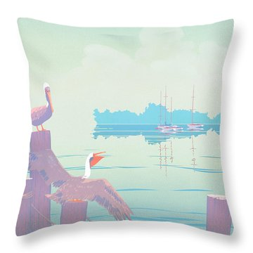 Abstract Pelicans Tropical Florida Seascape Sailboats Large Pop Art Nouveau 1980s Stylized Painting Throw Pillow by Walt Curlee