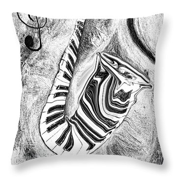 Piano Keys In A Saxophone 2 - Music In Motion Throw Pillow