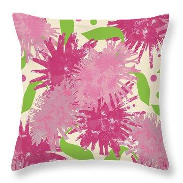 Abstract Pink Puffs Throw Pillow