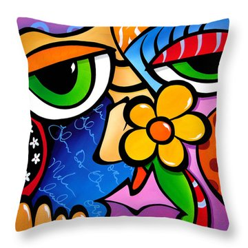 Abstract Pop Art Original Painting Scratch N Sniff By Fidostudio Throw Pillow by Tom Fedro - Fidostudio