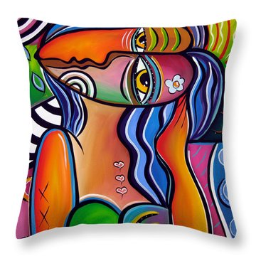 Abstract Pop Art Original Painting Shabby Chic Throw Pillow by Tom Fedro - Fidostudio
