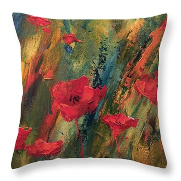 Abstract Poppies Throw Pillow by Kristine Bogdanovich