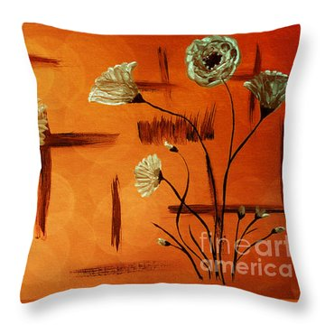 Throw Pillow featuring the painting Expressive Abstract Floral A42016 by Mas Art Studio
