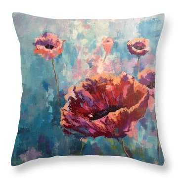 Abstract Poppy Throw Pillow