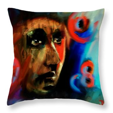 Throw Pillow featuring the digital art Abstract Portrait - 02aug2017 by Jim Vance