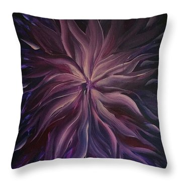 Abstract Purple Flower Throw Pillow