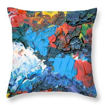 Throw Pillow featuring the painting Abstract Q1112a  by Mas Art Studio