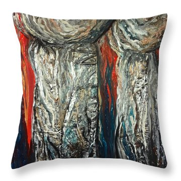 Abstract Red And Silver Latte Stones Throw Pillow