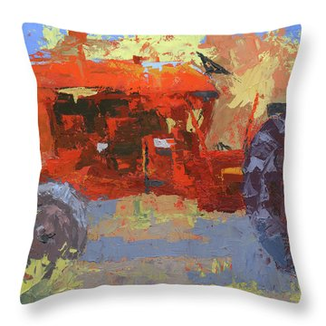 Abstract Red Tractor Throw Pillow