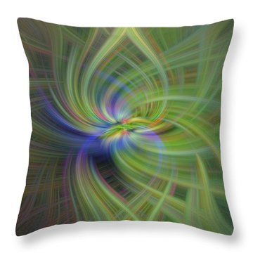 Abstract Robin Eating Crabapples Throw Pillow