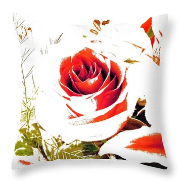 Abstract Rose With Cardinal Throw Pillow
