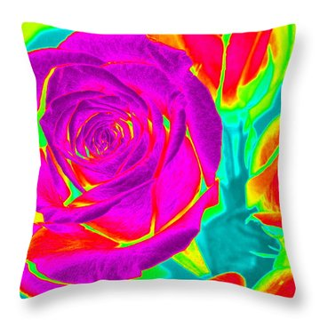 Blooming Roses Abstract Throw Pillow