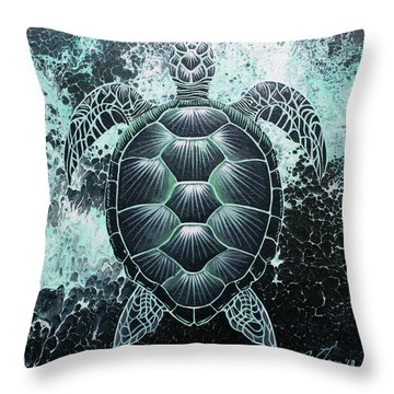 Abstract Sea Turtle Throw Pillow