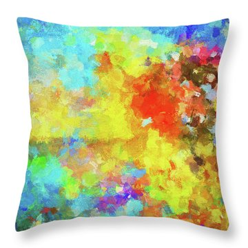 Throw Pillow featuring the painting Abstract Seascape Painting With Vivid Colors by Ayse Deniz