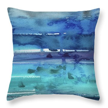Abstract Seascape Turquoise Glow Throw Pillow
