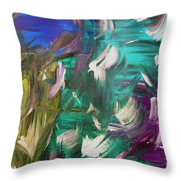Throw Pillow featuring the painting Abstract Series E1015bl by Mas Art Studio