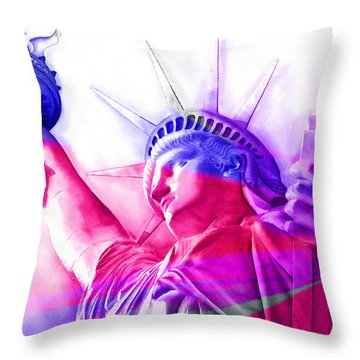 Throw Pillow featuring the painting Abstract Statue Of Liberty 7 by J- J- Espinoza
